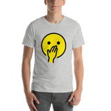 Emoji T-Shirt Store | Face With Hand Over Mouth emoji t-shirt in Light gray