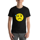 Emoji T-Shirt Store | Anxious Face With Sweat emoji t-shirt in Black