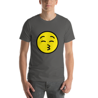 Emoji T-Shirt Store | Kissing Face With Closed Eyes emoji t-shirt in Dark gray