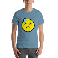 Emoji T-Shirt Store | Downcast Face With Sweat emoji t-shirt in Blue
