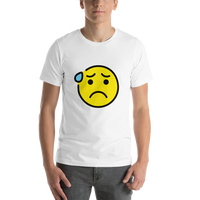 Emoji T-Shirt Store | Anxious Face With Sweat emoji t-shirt in White