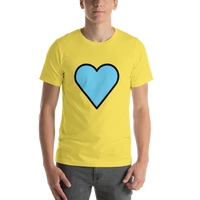 Emoji T-Shirt Store | Blue Heart emoji t-shirt in Yellow