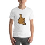 Emoji T-Shirt Store | Call Me Hand, Medium Dark Skin Tone emoji t-shirt in White