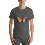 Emoji T-Shirt Store | Open Hands, Medium Skin Tone emoji t-shirt in Dark gray