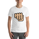 Emoji T-Shirt Store | Oncoming Fist, Medium Light Skin Tone emoji t-shirt in White