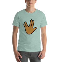 Emoji T-Shirt Store | Vulcan Salute, Medium Dark Skin Tone emoji t-shirt in Green