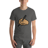 Emoji T-Shirt Store | Writing Hand, Medium Skin Tone emoji t-shirt in Dark gray