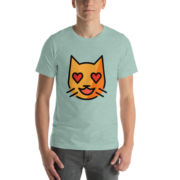 Emoji T-Shirt Store | Smiling Cat With Heart-Eyes emoji t-shirt in Green