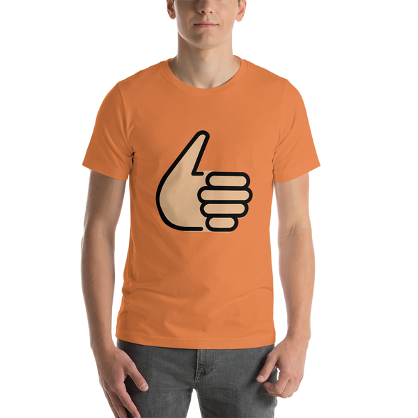 Emoji T-Shirt Store | Thumbs Up, Medium Light Skin Tone emoji t-shirt in Orange