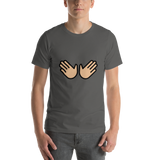 Emoji T-Shirt Store | Open Hands, Medium Light Skin Tone emoji t-shirt in Dark gray