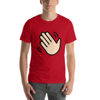 Emoji T-Shirt Store | Waving Hand, Light Skin Tone emoji t-shirt in Red