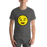 Emoji T-Shirt Store | Winking Face emoji t-shirt in Dark gray