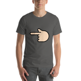 Emoji T-Shirt Store | Backhand Index Pointing Left, Light Skin Tone emoji t-shirt in Dark gray