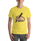 Emoji T-Shirt Store | Writing Hand, Medium Light Skin Tone emoji t-shirt in Yellow