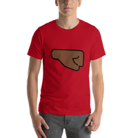 Emoji T-Shirt Store | Right Facing Fist, Dark Skin Tone emoji t-shirt in Red