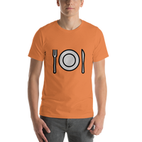 Emoji T-Shirt Store | Fork And Knife With Plate emoji t-shirt in Orange