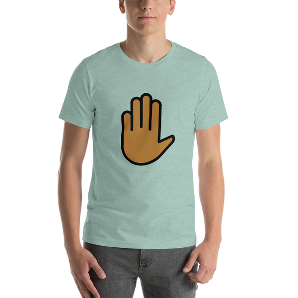 Emoji T-Shirt Store | Raised Hand, Medium Dark Skin Tone emoji t-shirt in Green