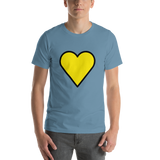 Emoji T-Shirt Store | Yellow Heart emoji t-shirt in Blue