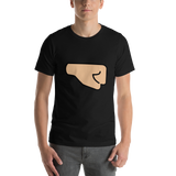 Emoji T-Shirt Store | Right Facing Fist, Medium Light Skin Tone emoji t-shirt in Black