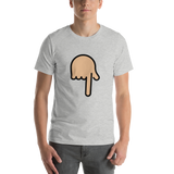 Emoji T-Shirt Store | Backhand Index Pointing Down, Medium Light Skin Tone emoji t-shirt in Light gray