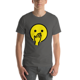 Emoji T-Shirt Store | Face With Hand Over Mouth emoji t-shirt in Dark gray