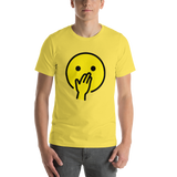 Emoji T-Shirt Store | Face With Hand Over Mouth emoji t-shirt in Yellow