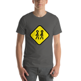 Emoji T-Shirt Store | Children Crossing emoji t-shirt in Dark gray