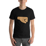 Emoji T-Shirt Store | Right Facing Fist, Medium Skin Tone emoji t-shirt in Black