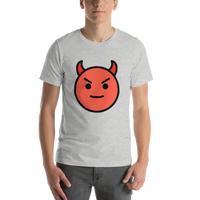 Emoji T-Shirt Store | Smiling Face With Horns emoji t-shirt in Light gray