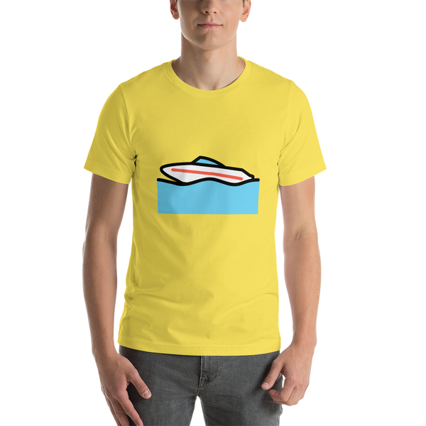 Emoji T-Shirt Store | Speedboat emoji t-shirt in Yellow