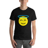 Emoji T-Shirt Store | Smiling Face With Halo emoji t-shirt in Black