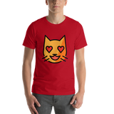 Emoji T-Shirt Store | Smiling Cat With Heart-Eyes emoji t-shirt in Red