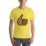 Emoji T-Shirt Store | Thumbs Up, Medium Dark Skin Tone emoji t-shirt in Yellow