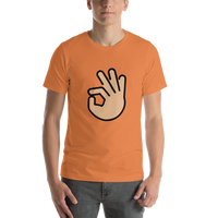Emoji T-Shirt Store | Ok Hand, Medium Light Skin Tone emoji t-shirt in Orange