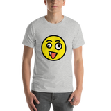 Emoji T-Shirt Store | Zany Face emoji t-shirt in Light gray