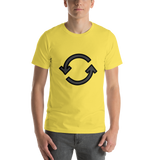 Emoji T-Shirt Store | Counterclockwise Arrows Button emoji t-shirt in Yellow