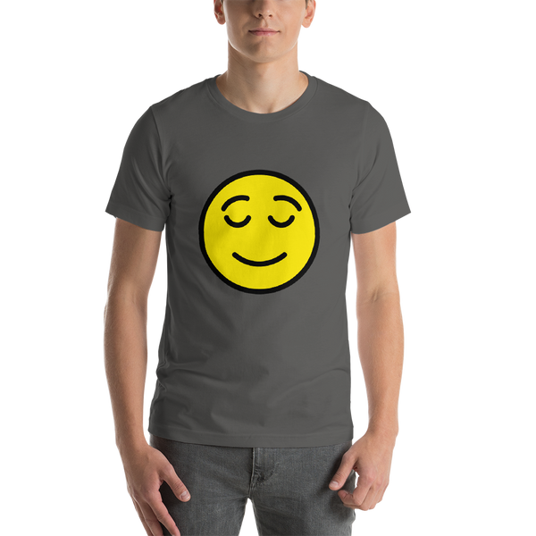 Emoji T-Shirt Store | Relieved Face emoji t-shirt in Dark gray