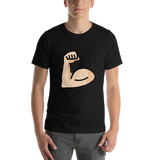 Emoji T-Shirt Store | Flexed Biceps, Light Skin Tone emoji t-shirt in Black