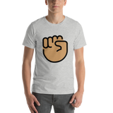 Emoji T-Shirt Store | Raised Fist, Medium Skin Tone emoji t-shirt in Light gray