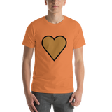 Emoji T-Shirt Store | Brown Heart emoji t-shirt in Orange
