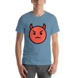 Emoji T-Shirt Store | Angry Face With Horns emoji t-shirt in Blue
