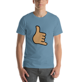 Emoji T-Shirt Store | Call Me Hand, Medium Skin Tone emoji t-shirt in Blue