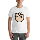 Emoji T-Shirt Store | Raised Fist, Light Skin Tone emoji t-shirt in White