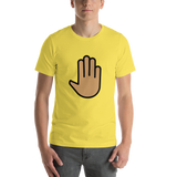 Emoji T-Shirt Store | Raised Back Of Hand, Medium Skin Tone emoji t-shirt in Yellow