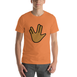 Emoji T-Shirt Store | Vulcan Salute, Medium Dark Skin Tone emoji t-shirt in Orange