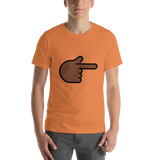 Emoji T-Shirt Store | Backhand Index Pointing Right, Dark Skin Tone emoji t-shirt in Orange