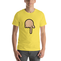 Emoji T-Shirt Store | Backhand Index Pointing Down, Medium Light Skin Tone emoji t-shirt in Yellow