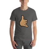 Emoji T-Shirt Store | Call Me Hand, Medium Skin Tone emoji t-shirt in Dark gray