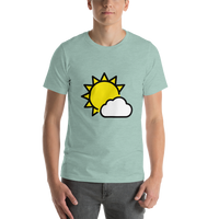 Emoji T-Shirt Store | Sun Behind Small Cloud emoji t-shirt in Green