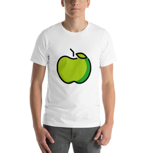 Emoji T-Shirt Store | Green Apple emoji t-shirt in White